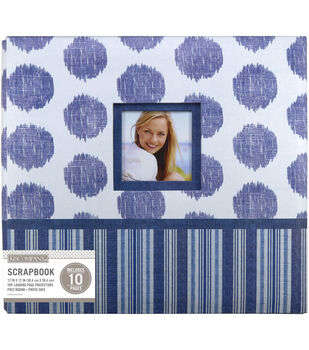 "K&Company Vintage Blue Collage 12""x12"" Window Scrapbook"