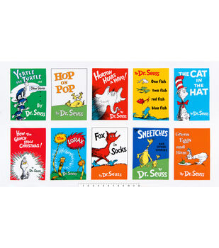 Dr Suess Book Cover Cotton Panel