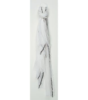 Oxford Street Jewelry Co. White Scarf w/Black Stripes