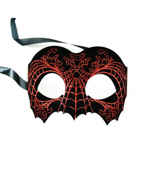 Maker's Halloween Black Mask With Red Spiderweb