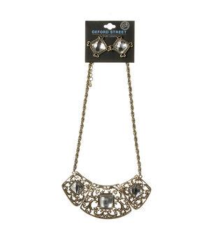 Oxford Street Jewelry Co. Gold Rhinestone Necklace w/Earrings