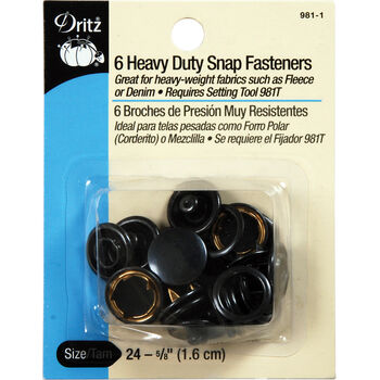 """Dritz 0.63"""" Heavy Duty Snap Fasteners 6pcs Size 24 Black"""