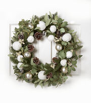 Blooming Holiday 28'' Fur Snowball, Bell & Pinecone Wreath, , hi-res