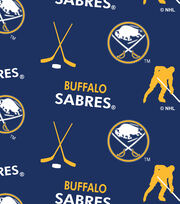 Buffalo Sabres NHL Tossed Print Fleece Fabric, , hi-res