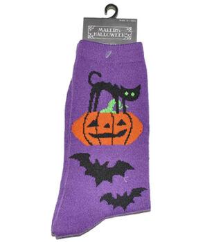 Maker's Halloween Socks-Vertical Cat Pumpkin Bat Crew