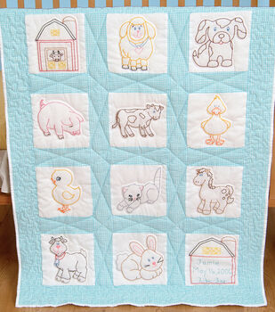 "Stamped White Nursery Quilt Blocks 9""X9"" 12/Pkg-Farm Animals"