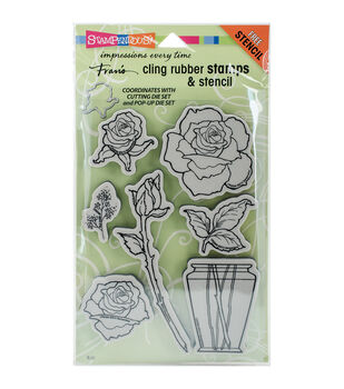 Stampendous® Cling Stamps & Stencil-Rose Bouquet