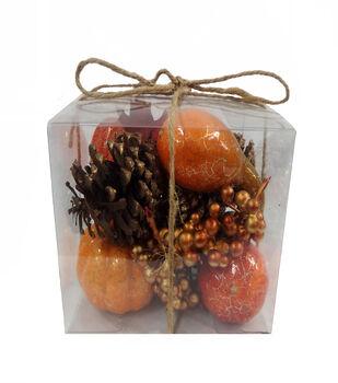 Blooming Autumn Crackle Pumpkin, Pinecone, Berries  & Gourd In Box-Orange