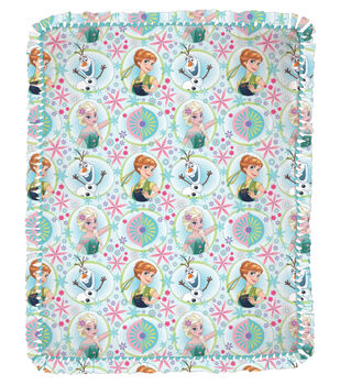 """Frozen Sisters Fever Framed  48"""" No Sew Throw"""