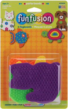 Perler Small Color Pegboards-Dog/Fish/Cat/Turtle 4/Pkg