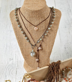Brown Cord and Pearl Necklace