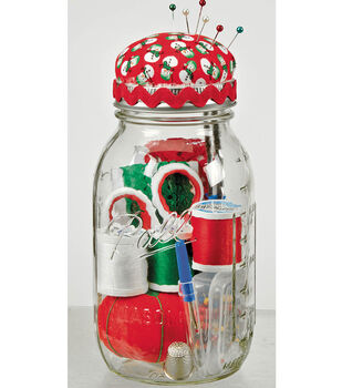 Mason Jars with Sewing Supplies