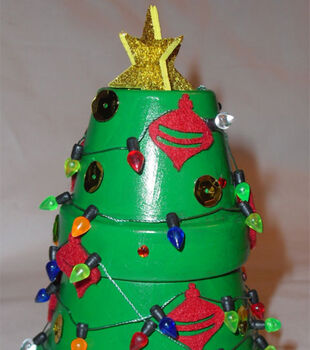 Decorated Pottery Christmas Tree