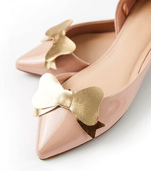 Gold Leather Bow Shoe Clips