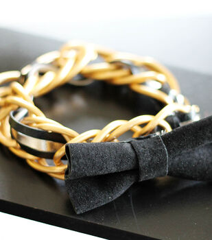 Chain Link Leather Bow Bracelet