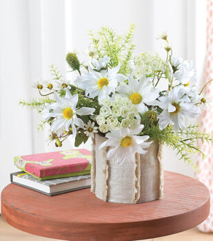 Floral Arrangement with Linen Slip Cover