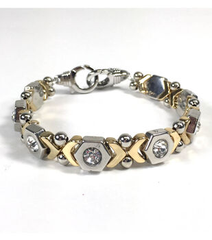 Silver and Gold Patterned Bracelet