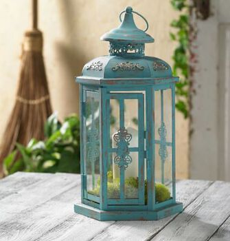 Chalk Finish Indoor/Outdoor Metal Lantern
