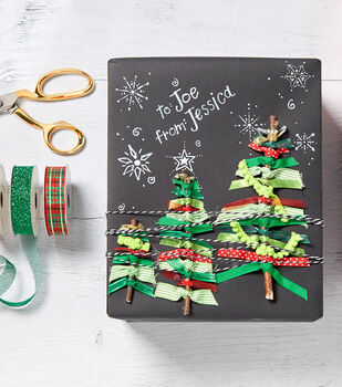 Chalkboard Wrapped Gift with Ribbon Trees