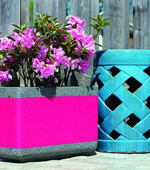 How To Make A Pink Striped Concrete Flower Planter