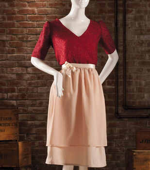 Lace V-Neck Top with Chiffon Wrap Skirt