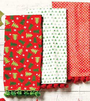 Holiday Dish Towels with Pom-poms