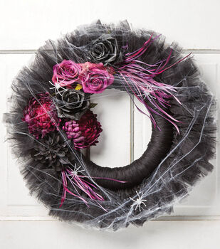 How To Make A Tulle Halloween Wreath with Flowers