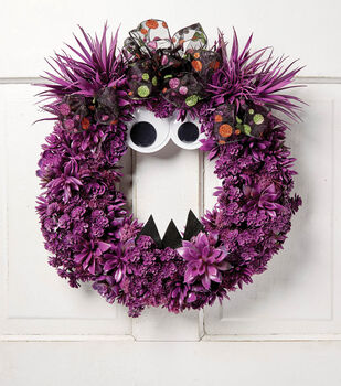 How To Make A Purple Monster Halloween Wreath
