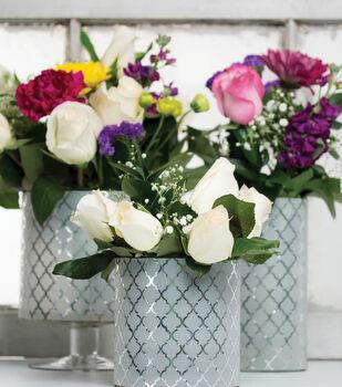 Decorative Silver Foil Vases