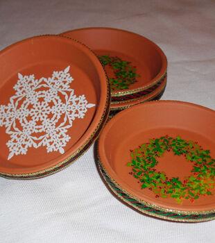 Holiday Pottery Coasters