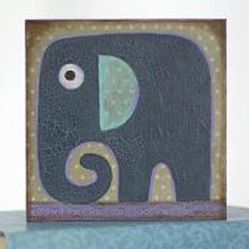 Crackled Finish Elephant Mixed Media