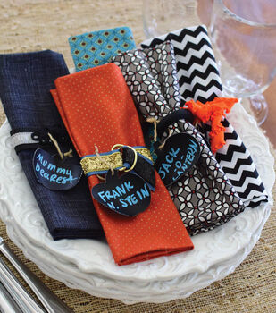 Chalkboard Pumpkin Name Tag and Napkin Ring