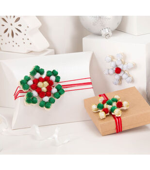 Learn to make Pom Snowflake Gift Embellishments