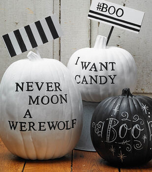 Black And White Clean Pumpkins with Signs