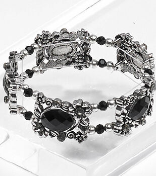 Black Flower and Faceted Beads Bracelet