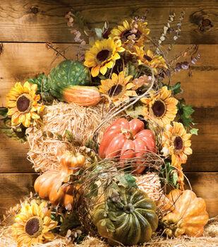Straw & Gourd Harvest Arrangement