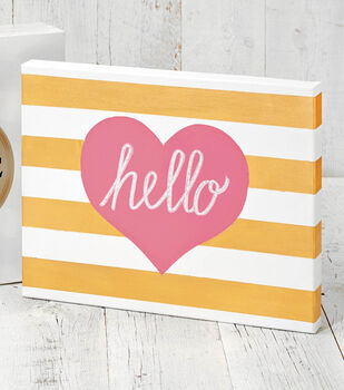 Painted Canvas with Stripes and Hearts