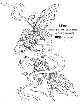 Flash: Coloring in the Tattoo Style Coloring Book Printables