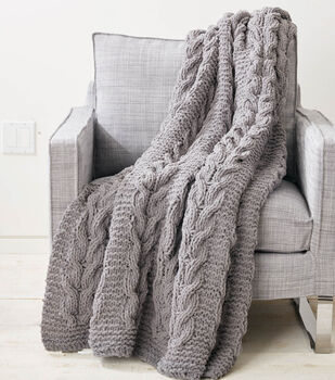 Cable Columns Knit Blanket