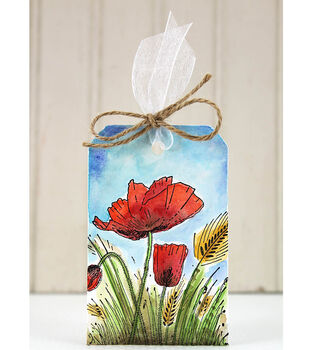 How To Make A Field of Poppies Watercolor Tag