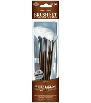 Value Pack Brush Sets-White Taklon Fan