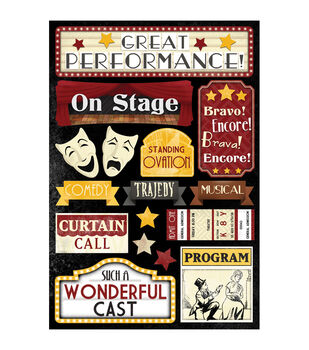 "Theatre Cardstock Stickers 5.5""X9""-Great Performance"
