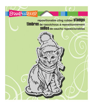 "Stampendous Christmas Cling Rubber Stamp 3.5""X4"" Sheet-Bundled Kitty"