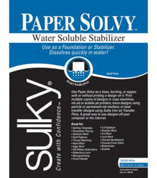 Sulky Soluble Stabilizer Paper Solvy-8-1/2'' x 11'' 12/Pkg