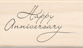 "Inkadinkado Mounted Rubber Stamp 1.75""X2.5""-Happy Anniversary"