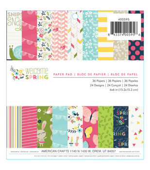 "Welcome Spring paper Pad 6""X6"" 36/Sheets-Single-Sided"