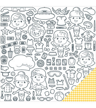 Imaginisce Family Fun Paper Dolls Double-Sided Cardstock