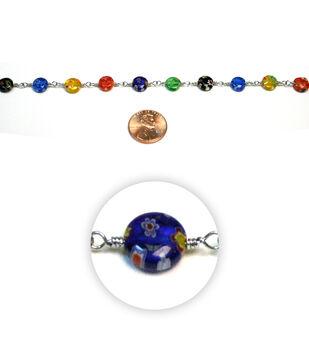 Glass Beads on Metal Chain Bead Chain