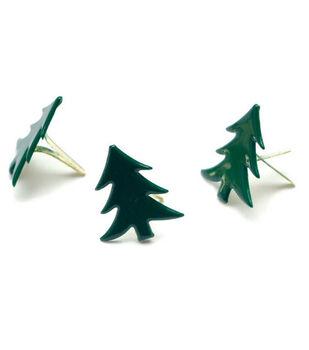 Painted Metal Tree Paper Fasteners-50PK/Dark Green