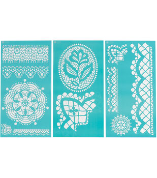 Martha Stewart Large Stencils 3 Sheets/Pk-Cathedral Lace